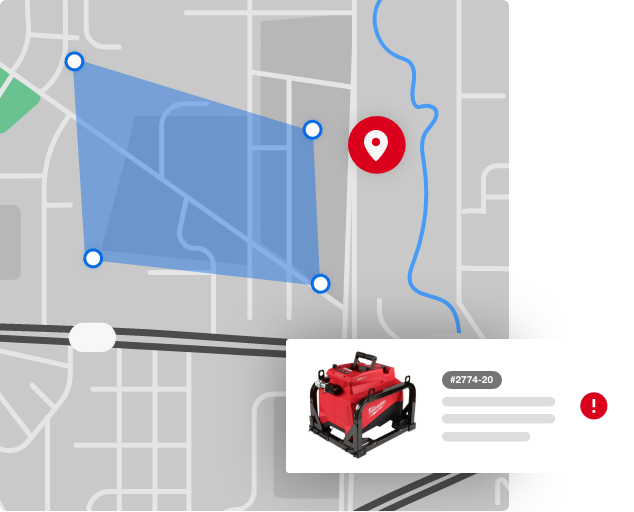 Geofence set on map with tool alert modal