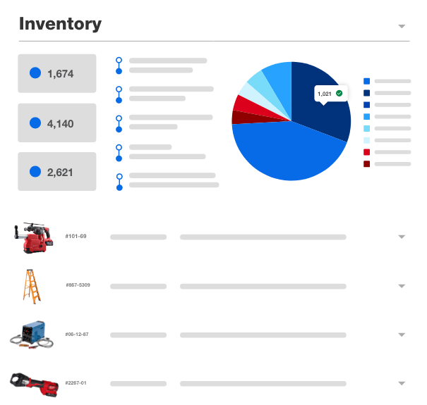 Tool inventory list with dashboard and various tools